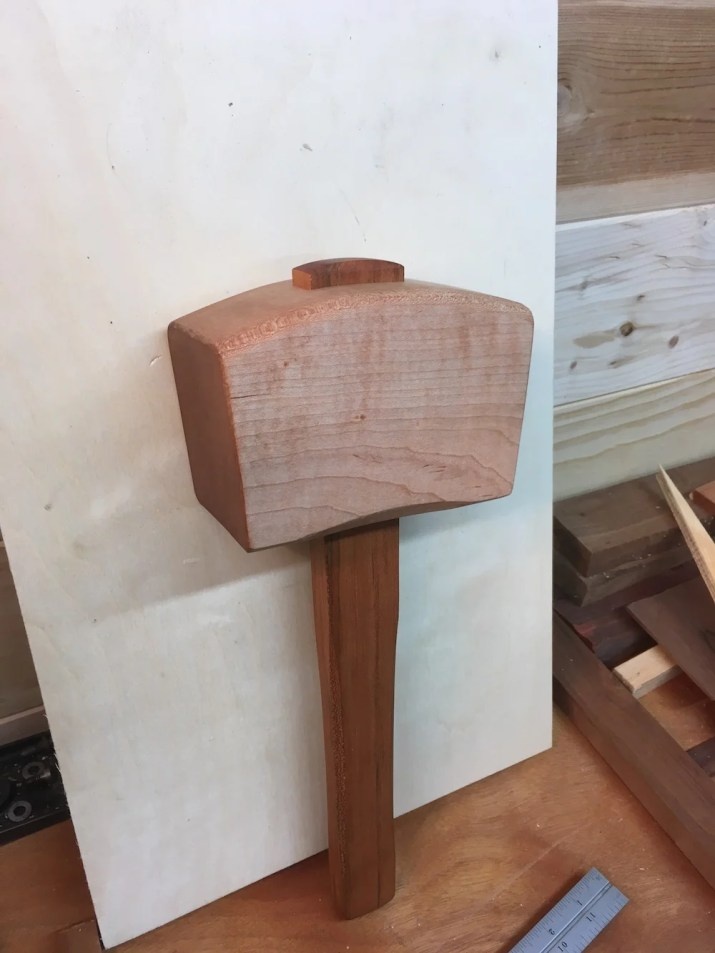 Hard maple head with cherry handle. Made from wood my father left me when he passed away. My first Paul Sellers project!